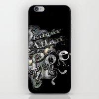 edgar allan poe iPhone & iPod Skins featuring Edgar Allan Poe by Irmak Akcadogan