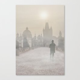 Prague in the morning fog Canvas Print