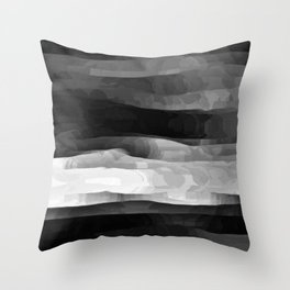 Glowing Smoky Abstract - Black and White Throw Pillow