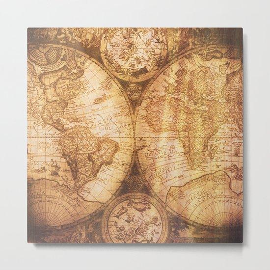 Antique World Map on Wood Metal Print
