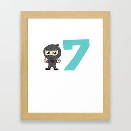 Birthday Ninja 7th Party Samurai Ninjas Gift Japanese Ninja stars Fighter Gift Framed Art Print