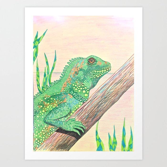 Pink Sunset Lizard Art Print