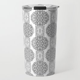 Gray white Damask ornament . Travel Mug