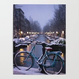 Amsterdam Bike in the Snow Poster