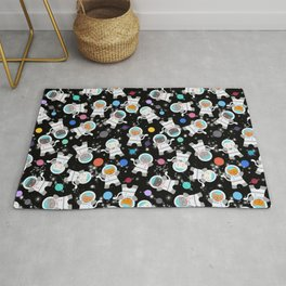 Astronaut Cats In Outer Space Pattern Rug