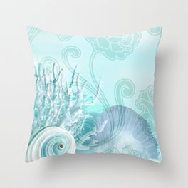 SEASHELL DREAMS | blue Throw Pillow