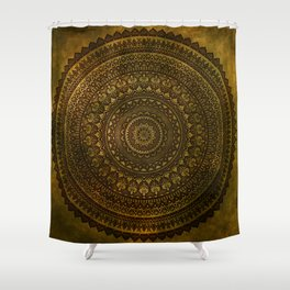 Lime Brown Mandala Shower Curtain