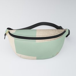 Simply Geometric White Gold Sands on Pastel Cactus Green Fanny Pack
