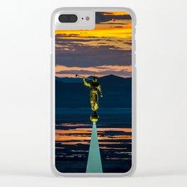 Bountiful Sunset - Moroni Statue - Utah Clear iPhone Case
