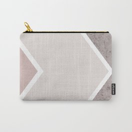 DARK BLUSH GRAY CONCRETE CHEVRON Carry-All Pouch