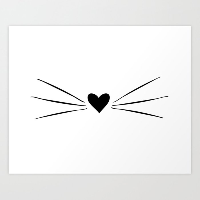 Cat Heart Nose & Whiskers Art Print