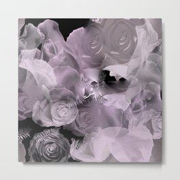 Floating Roses & Clouds Metal Print