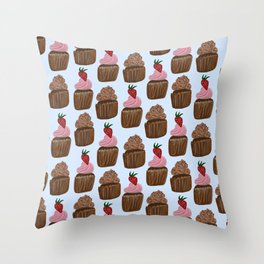 Chocolate Cupcakes on Pale Blue Throw Pillow