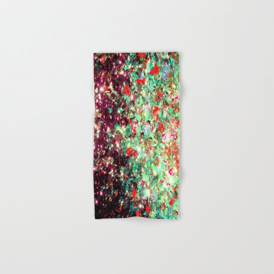 MISTLETOE NEBULA Colorful Festive Christmas Red Green Sparkle Galaxy Ombre Xmas Holidaze Abstract  Hand & Bath Towel