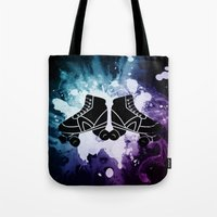 roller derby Tote Bags featuring Roller Derby Galaxy Skates by Mean Streak