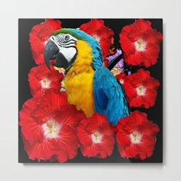 Red Hibiscus Flowers & Blue Macaw Parrot Black Accents Metal Print