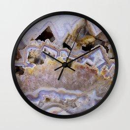 Pink agate lavender druse crystal quartz gem gemstone geode mineral stone marble photograph hipster Wall Clock