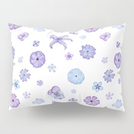 Purple Watercolor Floral Print Pillow Sham