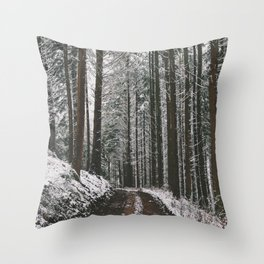Snowy Forest Path Throw Pillow