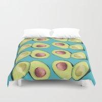 avocado Duvet Covers featuring Avocado by Magenta Rose Designs