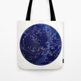 French March Star Map in Deep Navy & Black, Astronomy, Constellation, Celestial Tote Bag