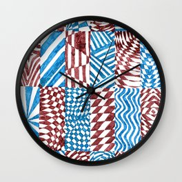 Checkerboard, Blue/Red Abstract (Ink Drawing) Wall Clock