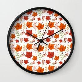 New Fall Leaves Wall Clock