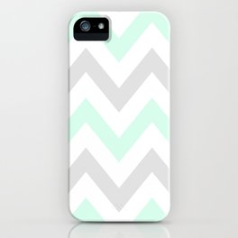 WASHED OUT CHEVRON (MINT & GRAY) iPhone Case