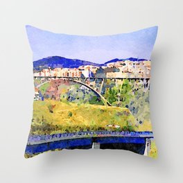 Catanzaro: view of the city with bridges Throw Pillow