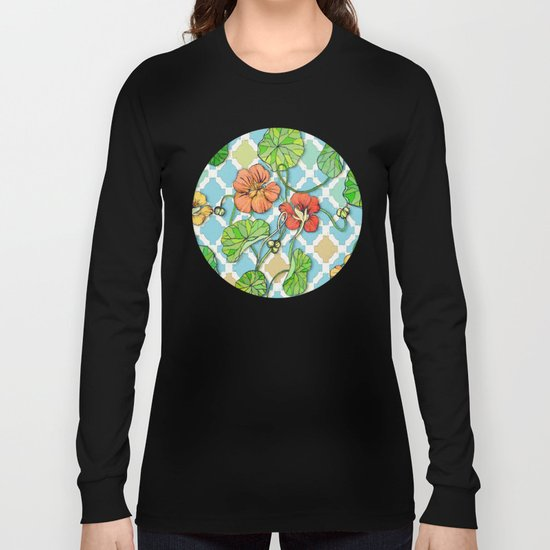 Climbing Nasturtiums on Blue and White Long Sleeve T-shirt