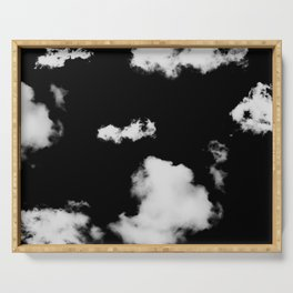 black & white clouds #1 Serving Tray