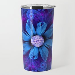 A Snowy Edelweiss Blooming as a Blue Origami Orchid Travel Mug