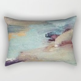 Gentle Beauty [5] - an elegant acrylic piece in deep purple, red, gold, and white Rectangular Pillow