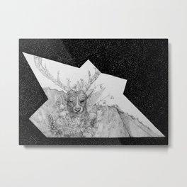 Elk and Shrooms Metal Print