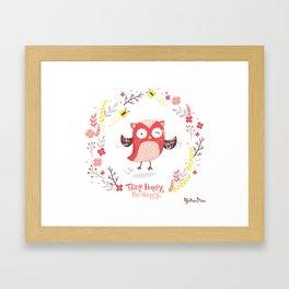 Think Happy, Be Happy Owl Print Framed Art Print