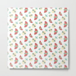 Pineapple and watermelon in sunglasses pattern Metal Print