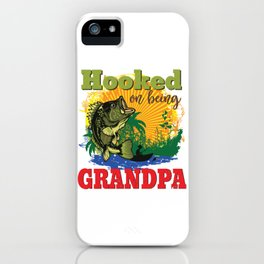Mens Hooked On Being A Grandpa Bass Fishing product iPhone Case