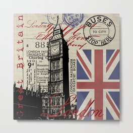 London Great Britain Big Ben Flag Collage #Society6Art Metal Print