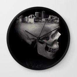Urban Skull Horror Black and White City Wall Clock