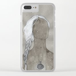 girl with silver oval telkari necklace Clear iPhone Case