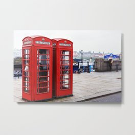 Old English Phone Boxes Metal Print