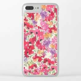Big Red Poppy Patch Clear iPhone Case