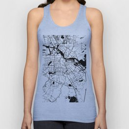 Amsterdam White on Black Street Map Unisex Tank Top