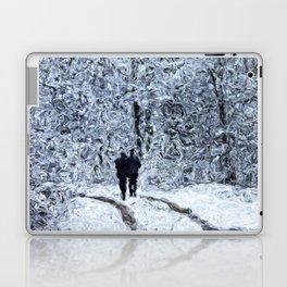 Snow path in the wood, winter walk Laptop & iPad Skin
