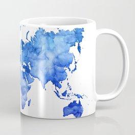 Cobalt blue watercolor world map Coffee Mug