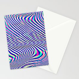 Glitch universe background. Old TV screen error. Stationery Cards