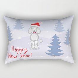 poodle dog santa y blue tree Rectangular Pillow