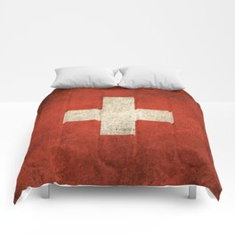 Old and Worn Distressed Vintage Flag of Switzerland Comforters