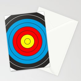 Yellow, red, blue, black target on white background Stationery Cards
