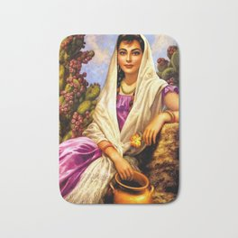 Jesus Helguera Painting of a Calendar Girl with Cream Shawl Bath Mat